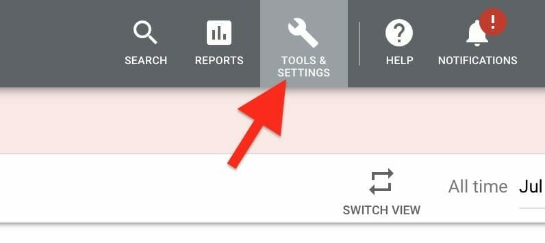 click on the tools and settings icon in google ads