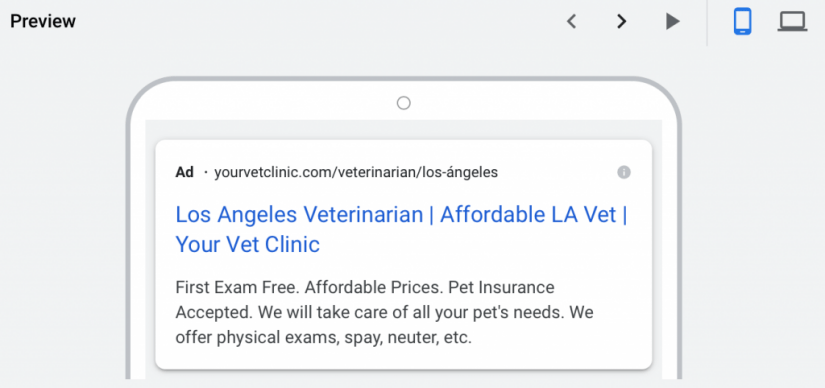 mobile preview of google ads for veterinarians