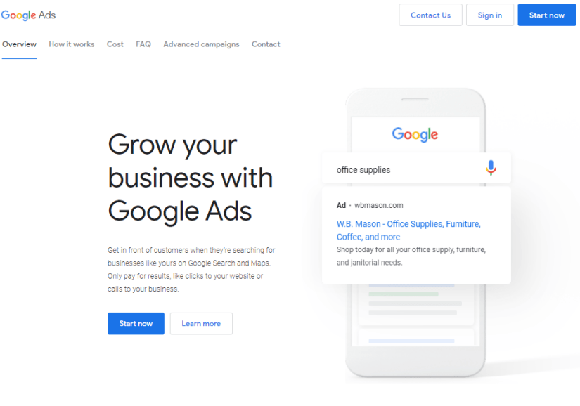 google ads homepage click 'start now'