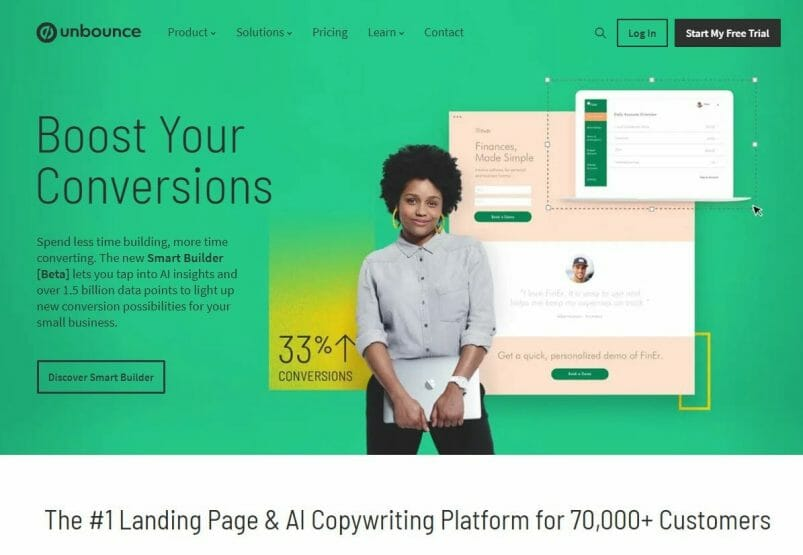 Unbounce homepage for landing page software