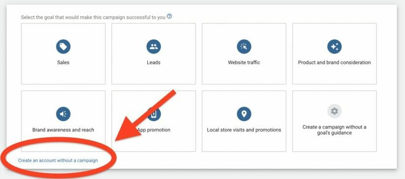 choose to create an account without a campaign