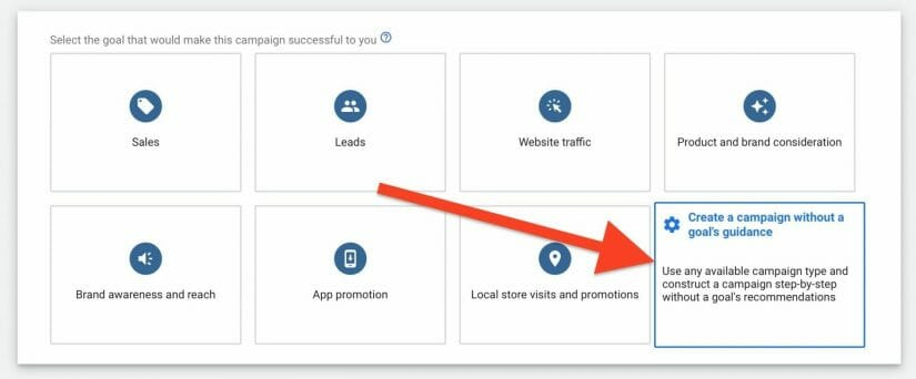 select create your google ads for dog training campaign without a goals guidance