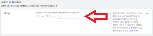 set a daily budget for your ppc