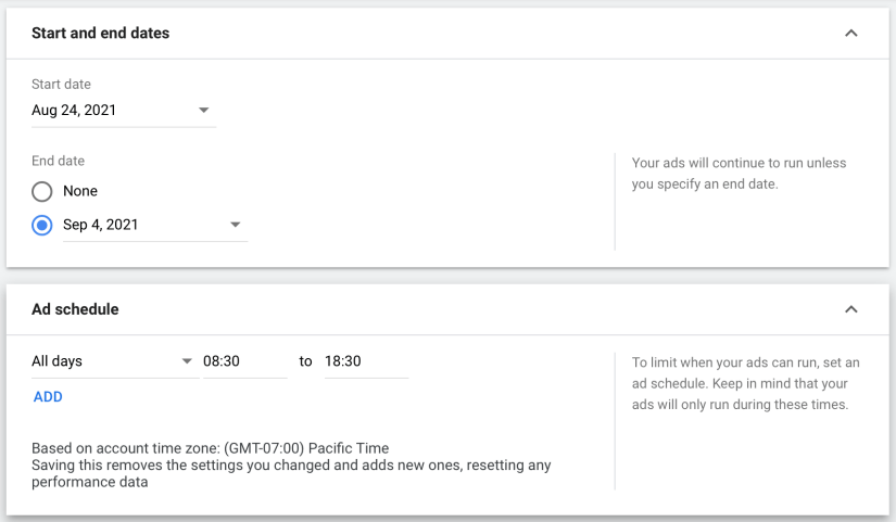 set your ad dates and create an ad schedule for your google ads for law firm marketing