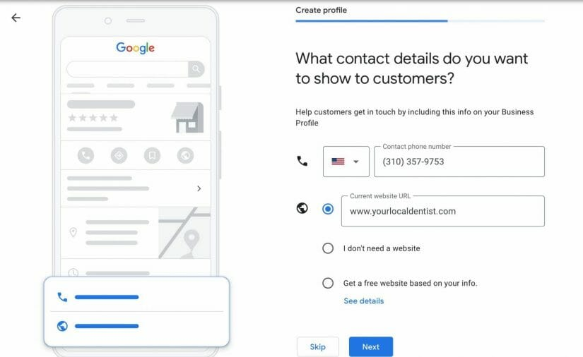 enter your contact details. enter your phone number and website url