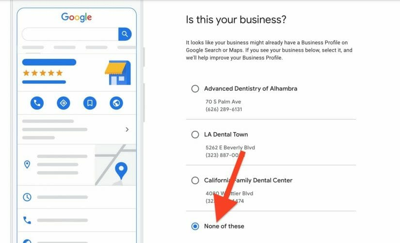 dentists business lists frm google