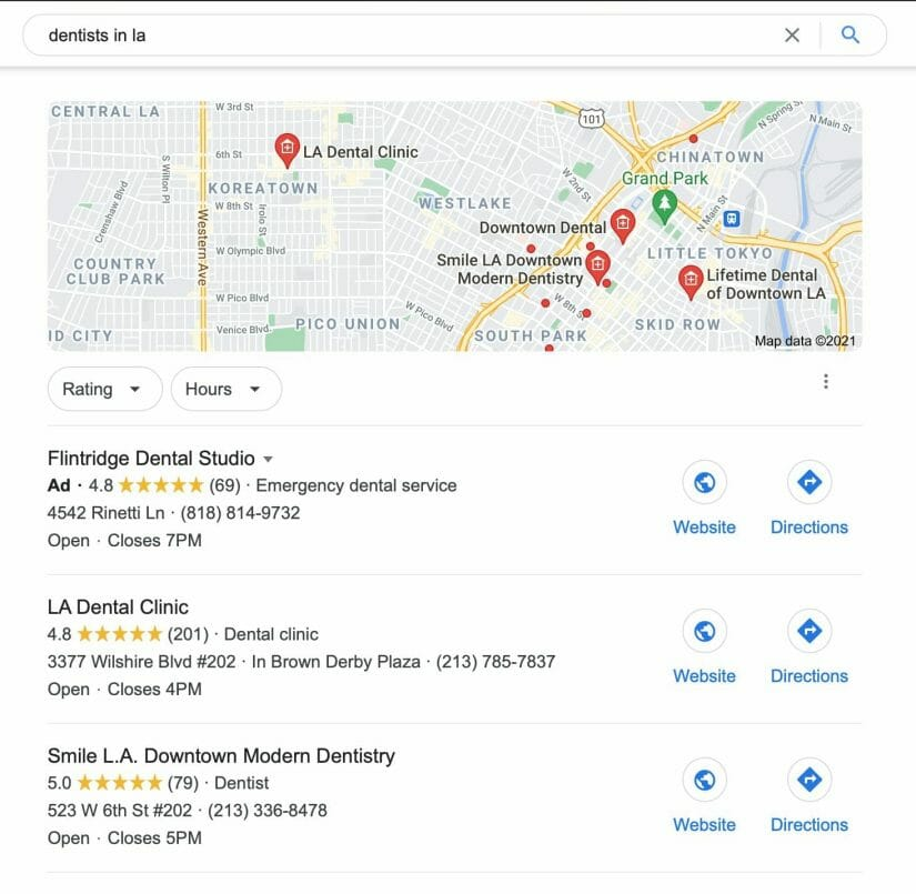 google my business results when searching for dentists in la