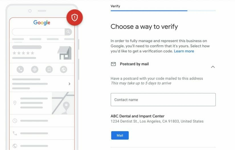 choose a way to verify your google my business account. most common method is by postcard.