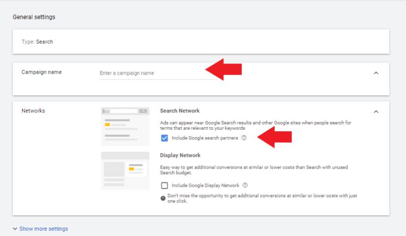 """enter a campaign name for autp repair shop ppc and select """"search"""" network"""