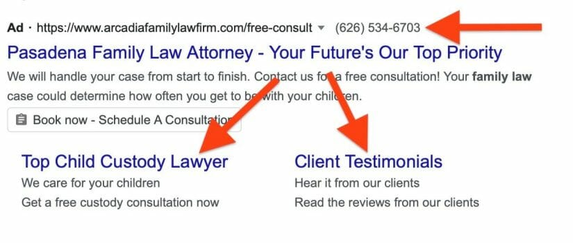 law firm ad that uses both call extension and sitelink extensions.
