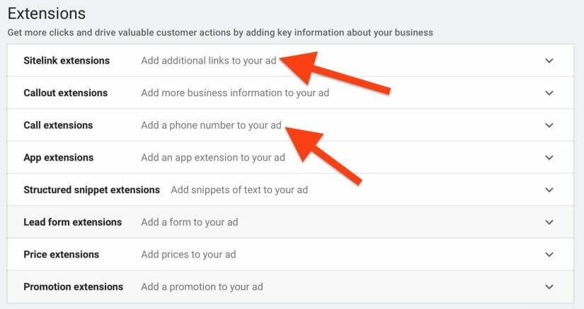 different types of extensions to include in your ads