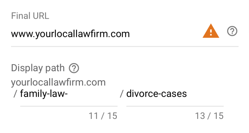 google ads for law firm marketing final url examples
