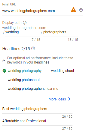 input final url and headline for wedding photographer