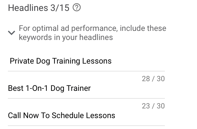create ad headlines for your google ads for dog training