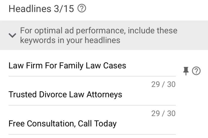 google ads for law firm marketing ad headlines examples