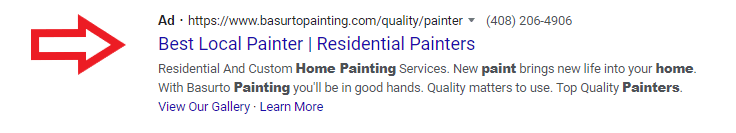 house painter ppc search results
