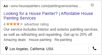 house painter ppc mobile view