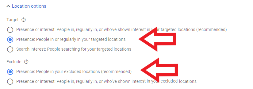 select target options for house painter ppc