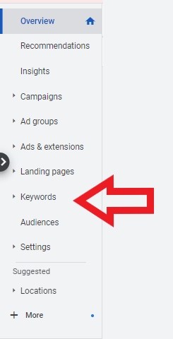 select keywords from the left overview panel of
