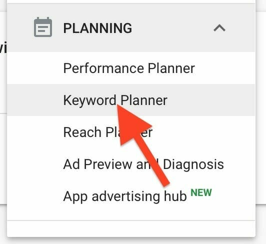 click ok keyword planner under the planning section