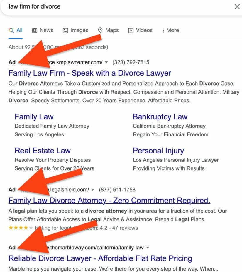 google ads for law firm marketing