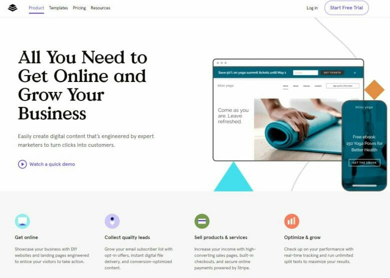 Leadpages homepage for landing page software