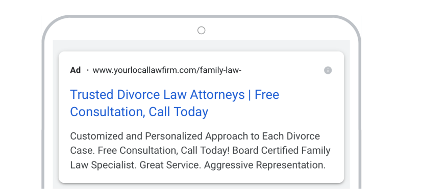 google ads for law firm marketing mobile preview