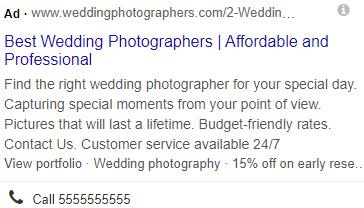 mobile view wedding photographer ppc