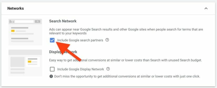 only select search network