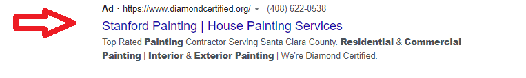 house painting services ppc example