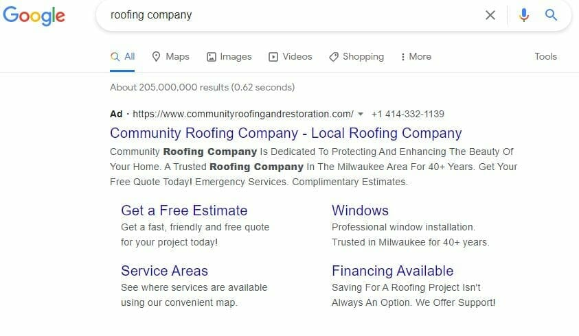 roofing company google search ppc