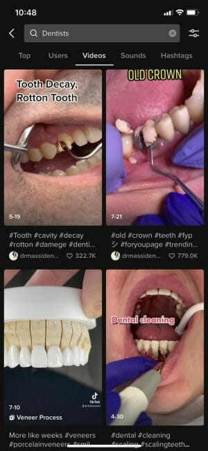 """top video results when searching """"dentists"""" on tik tok"""