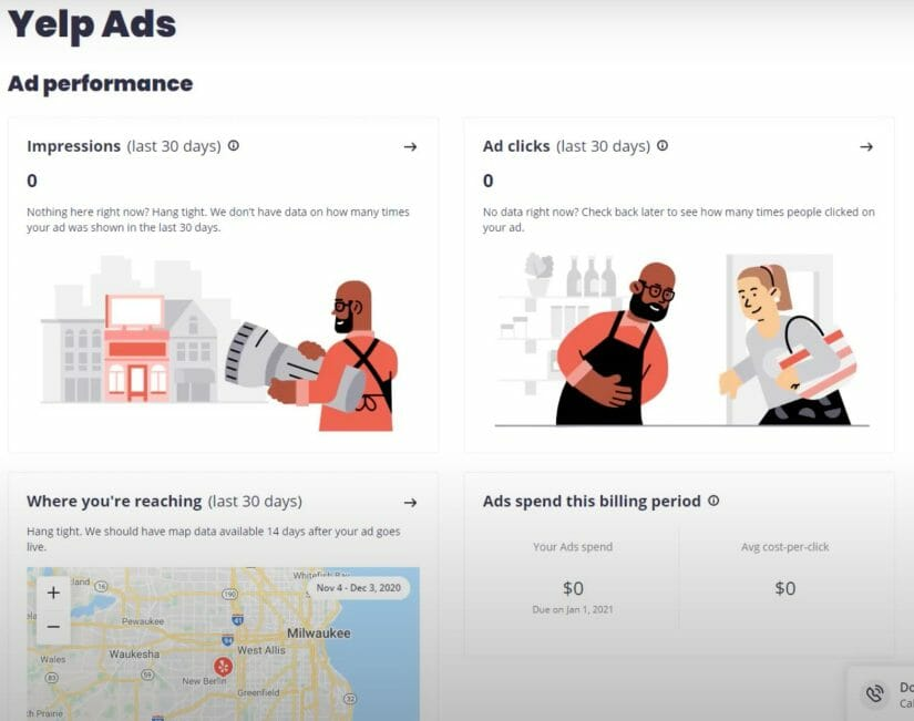 after your campaign is launched you can check your yelp ads dashbpard for data