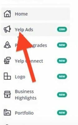click on the yelp ads tab on the right of your business dashboard