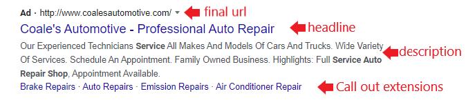 auto repair ad extension