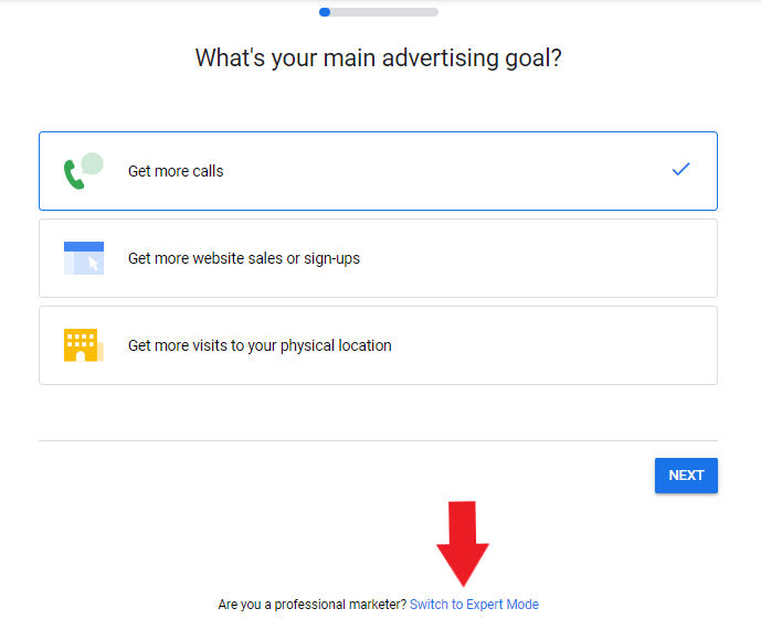 Switch to expert mode in google ads for auto repair shops
