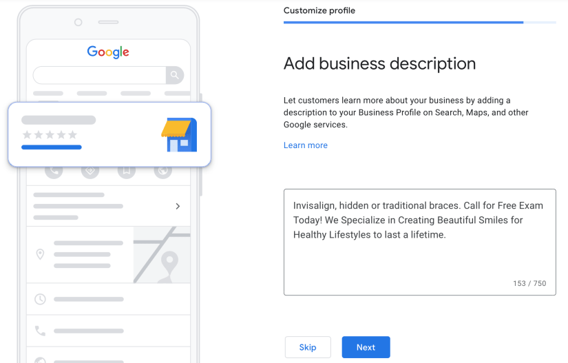 write the business description so customers can learn more about your clinic
