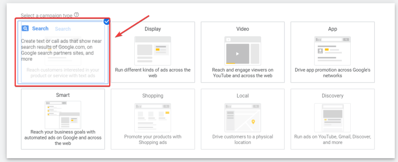 section for selecting campaign type that highlight the search option