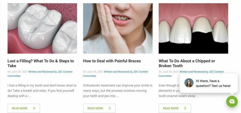 different articles from a dental blog website
