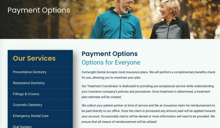 blogging for dental clinics. payment options example.