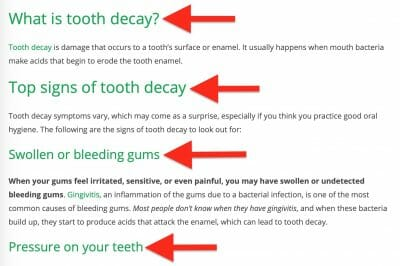 examples of subheading in a dental blog article