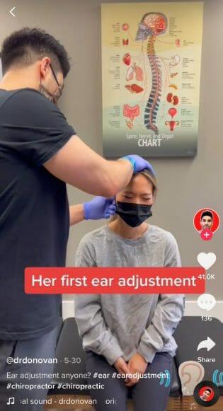 ear adjustment video for tiktok for chiropractors