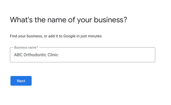 enter your clinics name or add it to google