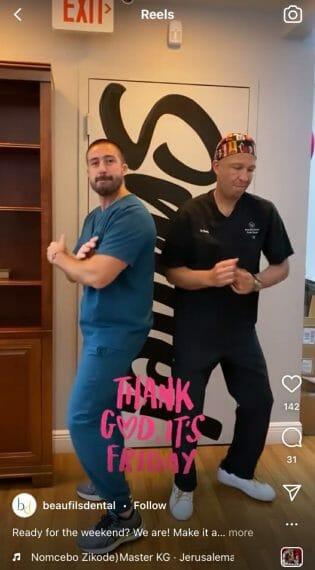 fun instagram reel of dentist dancing