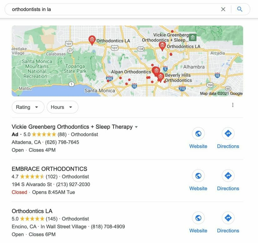 google my business results when searching for orthodontista in la