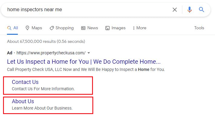home inspectors near me sample ppc with extensions