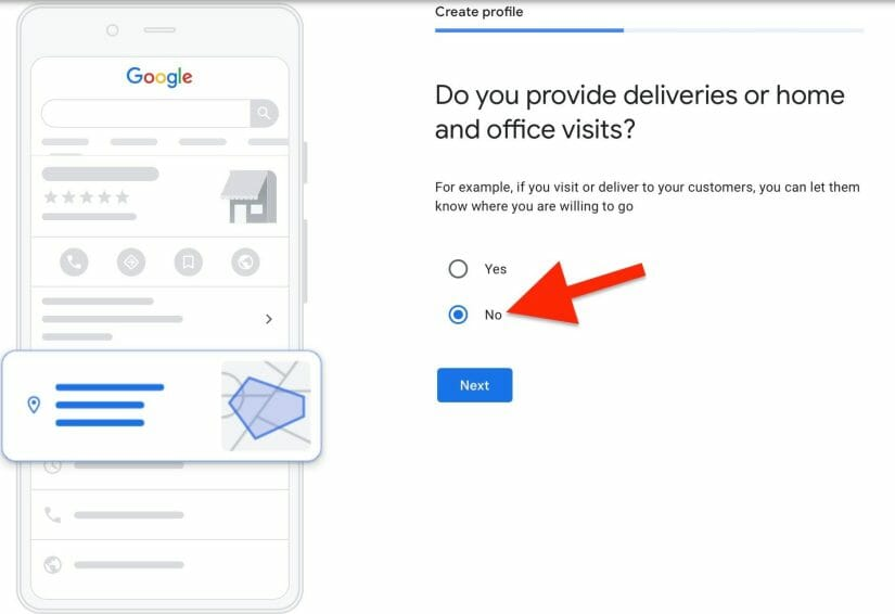 select no, that your clinic does not offer deliveries or home visits