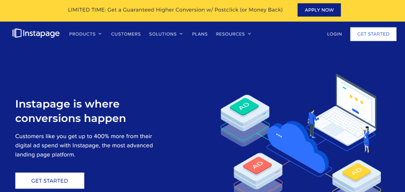 Homepage for Instapage