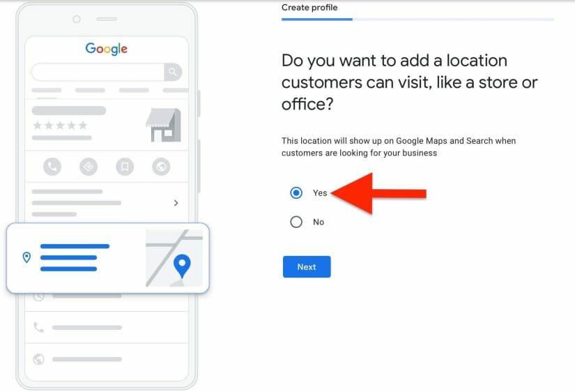 enter the location you want to appear on your google my business for orthodontists listing
