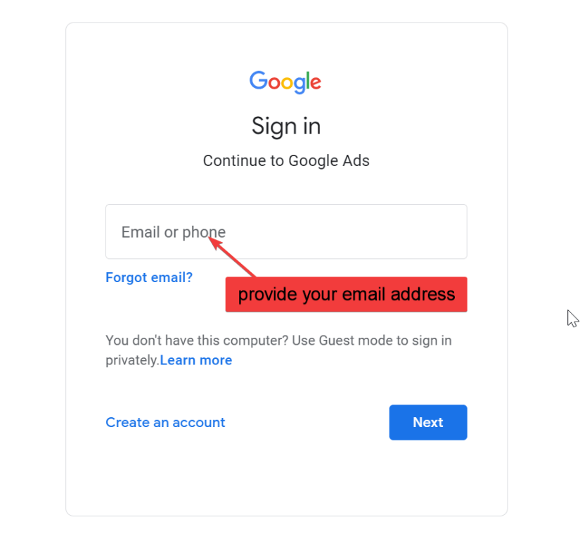 login to your google account using your email address